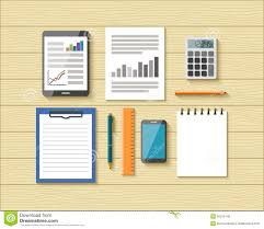 designer office desk isolated objects top view. top view of office objects on wooden desk stock photo designer isolated u
