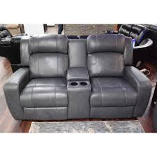 livorno grey leather power reclining loveseat