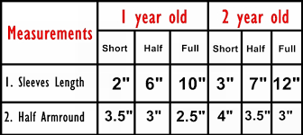 Height Of A 2 Year Old Chart 1 2 Year Baby Size Chart With Full Measurements Size Chart