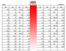 Slip On Size Chart Vans Slip On Board Of Missoula