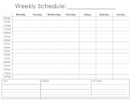 Blank Weekly Calendar Weekly Activity Calendar Template