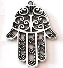 hamsa hand large charm palm protection antique silver pendant