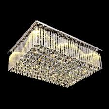 shinning clear crystal glass rods rectangular flush mount with stainless steel canopy