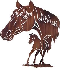 mare watching colt play horse wall art hanging reflections 28 1 2 h x 24 w in honey pinion only