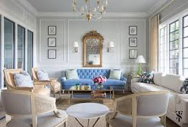 office lounge design. Chic Dental Office Lounge, Blue Sofa In Front Of French Gilt Mirror, Drapery Panels Lounge Design