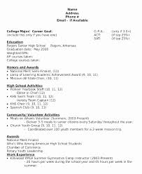 Scholarship Resume Simple Examples Of Resumes For High School Students Objective Awesome