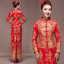 Chinese Wedding Dresses Red Lace Cheongsam Qipao Long Robe Women Red Mandarin Dress With Green Embroidery