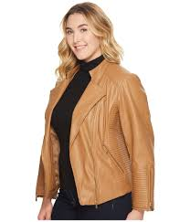 calvin klein plus women s clothing plus size faux leather jacket w piping faux leather