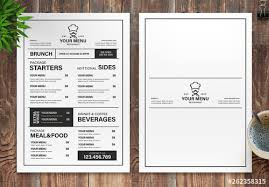 Restaurant Menus Layout Restaurant Menu Layout With Black And White Accents Buy