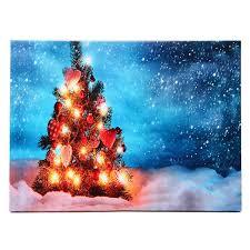 Canvas Christmas Prints With Led Lights 40 X 30cm Operated Led Christmas Snowy Tree Xmas Canvas Print Wall Art