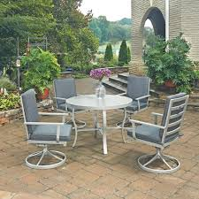 home styles south beach grey 5 piece round extruded aluminum outdoor dining set with gray