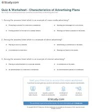 Quiz Worksheet Characteristics Of Advertising Plans Study Com