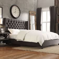 Elegant And Luxury Tufted King Bed For Your Better Bedroom: Gray  Upholstered Button Tufted Platform