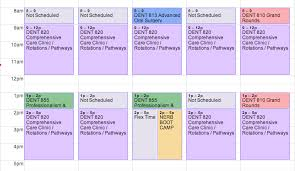 Sample College Class Schedule Calendars University Of Michigan School Of Dentistry