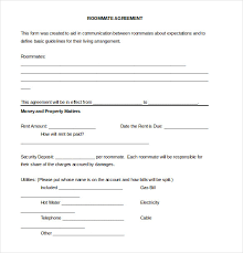 Sample Roommate Contract 15 Roommate Agreement Templates Free Sample Example Format