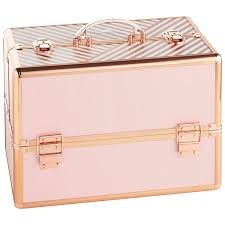 amazon beautify large makeup cosmetic organizer train case 14 professional aluminum storage box striped blush pink with lock and rose gold handles