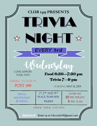 Trivia Night 3rd Wednesday Of The Month Starts Wednesday