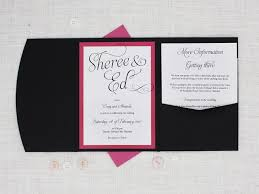 Bright Pink White And Black Pocketfold Wedding Invitation