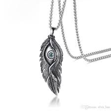 whole mens feather pendant necklace vintage silver color stainless steel casting evil stone eye male necklace party accessories silver jewelry gold