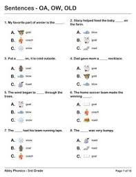 You can create printable tests and worksheets from these grade 3 phonics questions! Phonics Third Grade Oa Ow And Old Series Phonics Third Grade Word Work