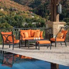 astoria 5 piece patio seating set with tikka orange cushions