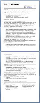 Health Information Technician Resume Sample