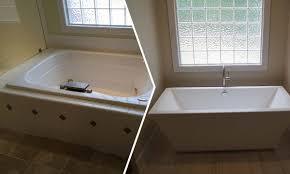 Freestanding Tub Master Bathroom Renovation Charlotte Home - Before and after bathroom renovations