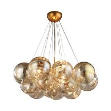 dimond cielo antique gold leaf three light chandelier hover to zoom