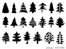 手描き 木のシルエットセット のイラスト素材 43747940 Pixta