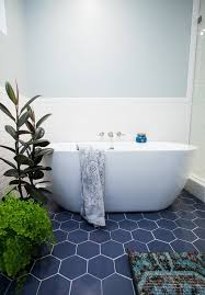 Floor Tiles For Bathrooms Hexagon Blue Tile With White Subway Modern Design Inspiration