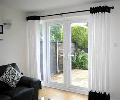 Wonderful Black Curtains Patio Doors Ideas Ntuploadsdecorating Bedroom For French  Doors With Glass Window And Black Sofa For Pretty White Curtain Design ...