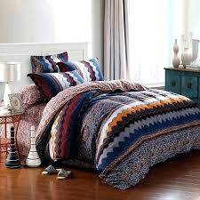 aztec duvet cover covers navy blue orange and brown zigzag stripe geometric pattern shabby chic gypsy