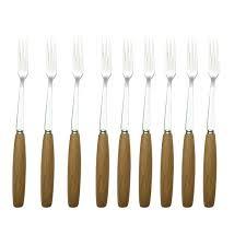 wooden handle forks nature wood stainless steel fruit fork cake fork salad fork with wooden handle