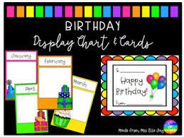 Card Birthday Chart Rainbow Birthday Chart Display Cards