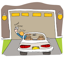 a cartoon man reaches out of his car window to his garage door remote at