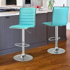 Joveco Modern Hydraulic Lift Adjustable Leather Bar Stools Set Of 2  Crystal Blue  Blue Leather Bar Stools S46