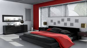Bedroom:Trendy Black And Red Bedroom Decor With Red Bed Cover And Grey Fur  Rug
