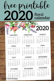 Year At A Glance Calendars Free Printable 2020 Calendar Yearly One Page Floral Free