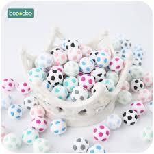 <b>Bopoobo 5PC</b> 15mm Lovely <b>Silicone</b> Football Beads Baby Shower ...
