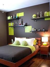 brown and green bedroom teen boy bedroom furniture open shelves wooden bed brown green colors turquoise