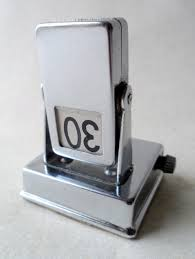 vintage desk office chrome plate rectangular perpetual metal flip calendar circa 1950s art deco style