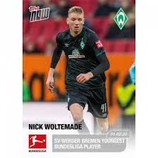 € * 27.09.1999 in osnabrück, deutschland jun 23, 2021 · thema: Sv Werder Bremen Youngest Bundesliga Player Bundesliga Topps Now Card 115 Print Run 121