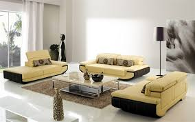 modern white leather living room set with leather living room