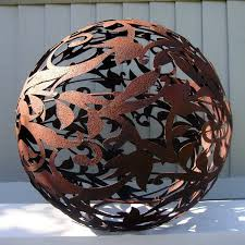 rusty sphere garden lantern large