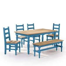 blue dining room set. Unique Room Jay 6Piece Blue Wash Solid Wood Dining Set With 1Bench 4 On Room R