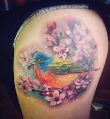 Colorful Bird Cherry Blossom Best Tattoo Design Ideas