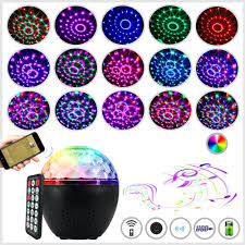Light Speaker 16 Colors Bluetooth Speaker Disco Ball Mini Music Audio Stage Light Remote Control Portable Projector Club Party