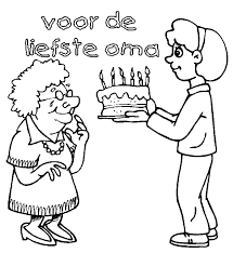 Kleurplaat Verjaardag Oma