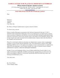 Administrative Claim Sample Letter Wisconsin Credit