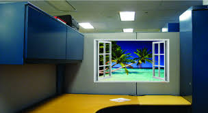 Give your cubicle a window view with Dream Cubicle wallpaper to decorate  your space!